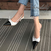 Casual Style Bi-color Plain Pin Heels