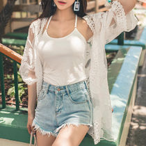 Flower Patterns Casual Style Street Style Cropped Long Lace