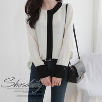 Casual Style Bi-color Long Sleeves Plain Medium