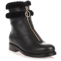 Jimmy Choo Round Toe Rubber Sole Leather Ankle & Booties Boots
