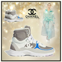 CHANEL Round Toe Casual Style Unisex Plain Leather Low-Top Sneakers