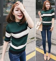 Stripes U-Neck Short Sleeves Sweaters