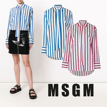 MSGM Stripes Casual Style Long Sleeves Cotton Medium