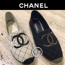 CHANEL Round Toe Casual Style Unisex Plain Flats