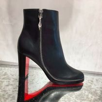 Christian Louboutin Plain Leather Elegant Style Chunky Heels