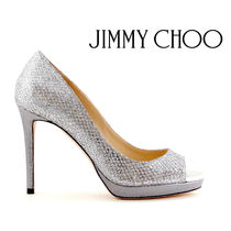 Jimmy Choo Open Toe Platform Plain Leather Party Style