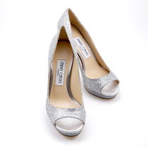 Jimmy Choo Open Toe Platform Plain Leather Party Style Glitter