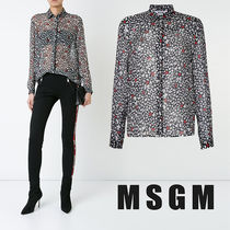 MSGM Star Casual Style Silk Long Sleeves Medium Shirts & Blouses
