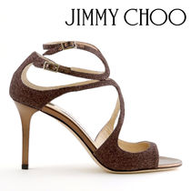 Jimmy Choo Open Toe Plain Leather Pin Heels Party Style Heeled Sandals