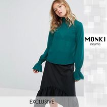 MONKI Plain Medium Elegant Style Super-long Sleeves