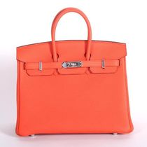 HERMES Birkin Orange Poppy/SHW Togo 25 Mini Bag