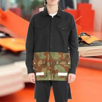 Off-White Camouflage Blended Fabrics Long Sleeves Plain Cotton