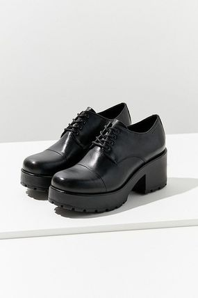 Platform Plain Toe Casual Style Street Style Plain Leather