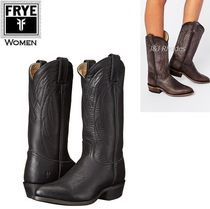 FRYE Cowboy Boots Casual Style Plain Leather Mid Heel Boots