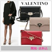 VALENTINO Studded Plain Leather Shoulder Bags