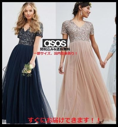 Maxi V-Neck Plain Long Short Sleeves With Jewels Dresses
