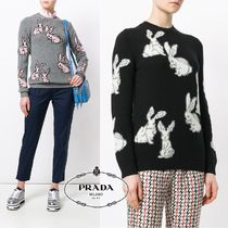 PRADA Casual Style Cashmere Long Sleeves Other Animal Patterns
