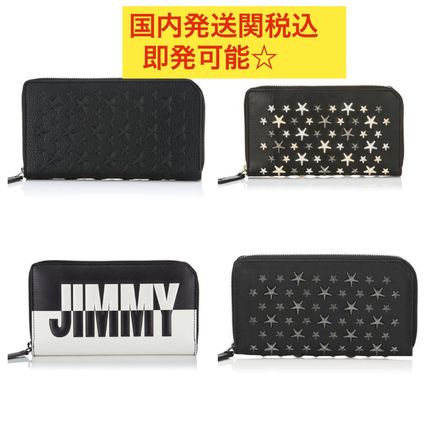 Star Unisex Calfskin Studded Street Style Plain Long Wallets