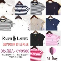 Ralph Lauren Stripes V-Neck Plain Cotton Short Sleeves T-Shirts
