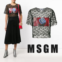 MSGM Flower Patterns Lace-up Casual Style Nylon Medium