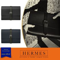 HERMES Bag in Bag Plain Leather Clutches