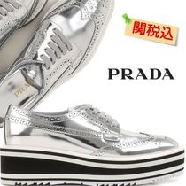 PRADA Platform Lace-up Plain Leather Shoes