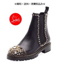 Christian Louboutin Round Toe Blended Fabrics Studded Plain Leather With Jewels