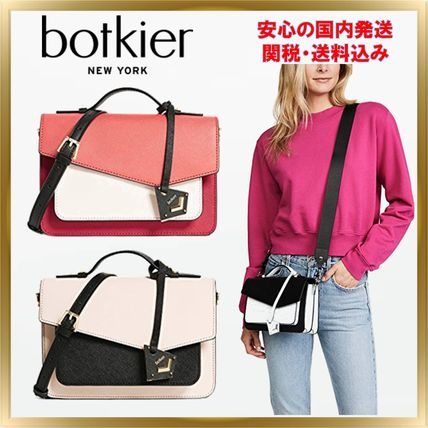 2WAY Plain Leather Elegant Style Crossbody Shoulder Bags