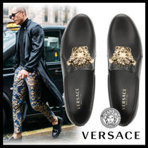 VERSACE Plain Leather Loafers & Slip-ons