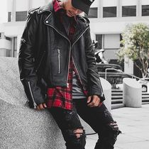 FAVELA Short Street Style Plain Leather Biker Jackets