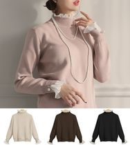 Chiffon Long Sleeves High-Neck With Jewels Sweaters
