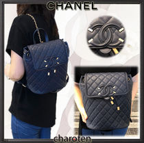 CHANEL ICON Navy Blue/GHW Caviar Skin CC Filigree Backpack