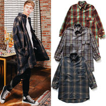 WV PROJECT Button-down Tartan Unisex Street Style V-Neck Long Sleeves