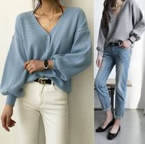 V-Neck Plain Puff Sleeves Cardigans