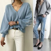 Plain Puff Sleeves Cardigans