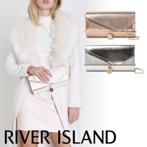 River Island Faux Fur 2WAY Chain Plain Party Style Clutches