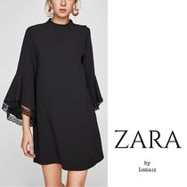 ZARA Crew Neck A-line Plain Medium Party Style Puff Sleeves