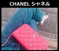 CHANEL CHAIN WALLET 3WAY Chain Plain Leather Elegant Style Shoulder Bags