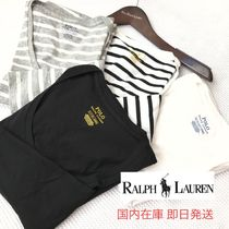 Ralph Lauren Stripes U-Neck Long Sleeves Plain Cotton T-Shirts