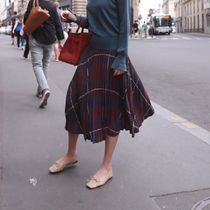 Other Check Patterns Casual Style Pleated Skirts