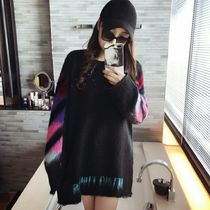 Crew Neck Casual Style Street Style Long Sleeves Oversized