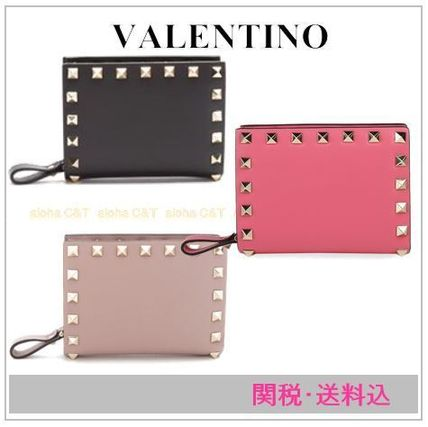 VALENTINO Folding Wallets Studded Plain Leather Folding Wallets