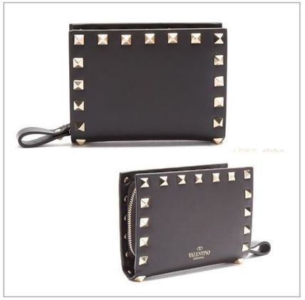 VALENTINO Folding Wallets Studded Plain Leather Folding Wallets 2