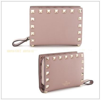 VALENTINO Folding Wallets Studded Plain Leather Folding Wallets 4