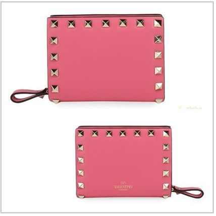 VALENTINO Folding Wallets Studded Plain Leather Folding Wallets 6