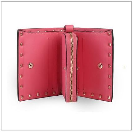 VALENTINO Folding Wallets Studded Plain Leather Folding Wallets 7