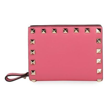 VALENTINO Folding Wallets Studded Plain Leather Folding Wallets 8