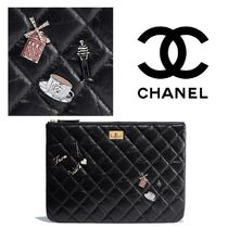 CHANEL Black/GHW Aged Calfskin Lucky Charms 2.55 Pouch