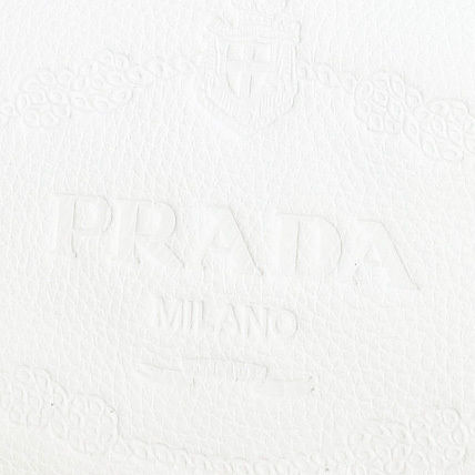 PRADA Totes White Embossed Logo Vitello Daino Leather Tote Bag 2