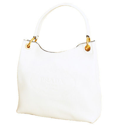 PRADA Totes White Embossed Logo Vitello Daino Leather Tote Bag 3